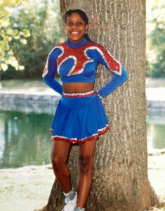 Figure 3.  Brandy, as a high school cheerleader - GLITTER SOCKS