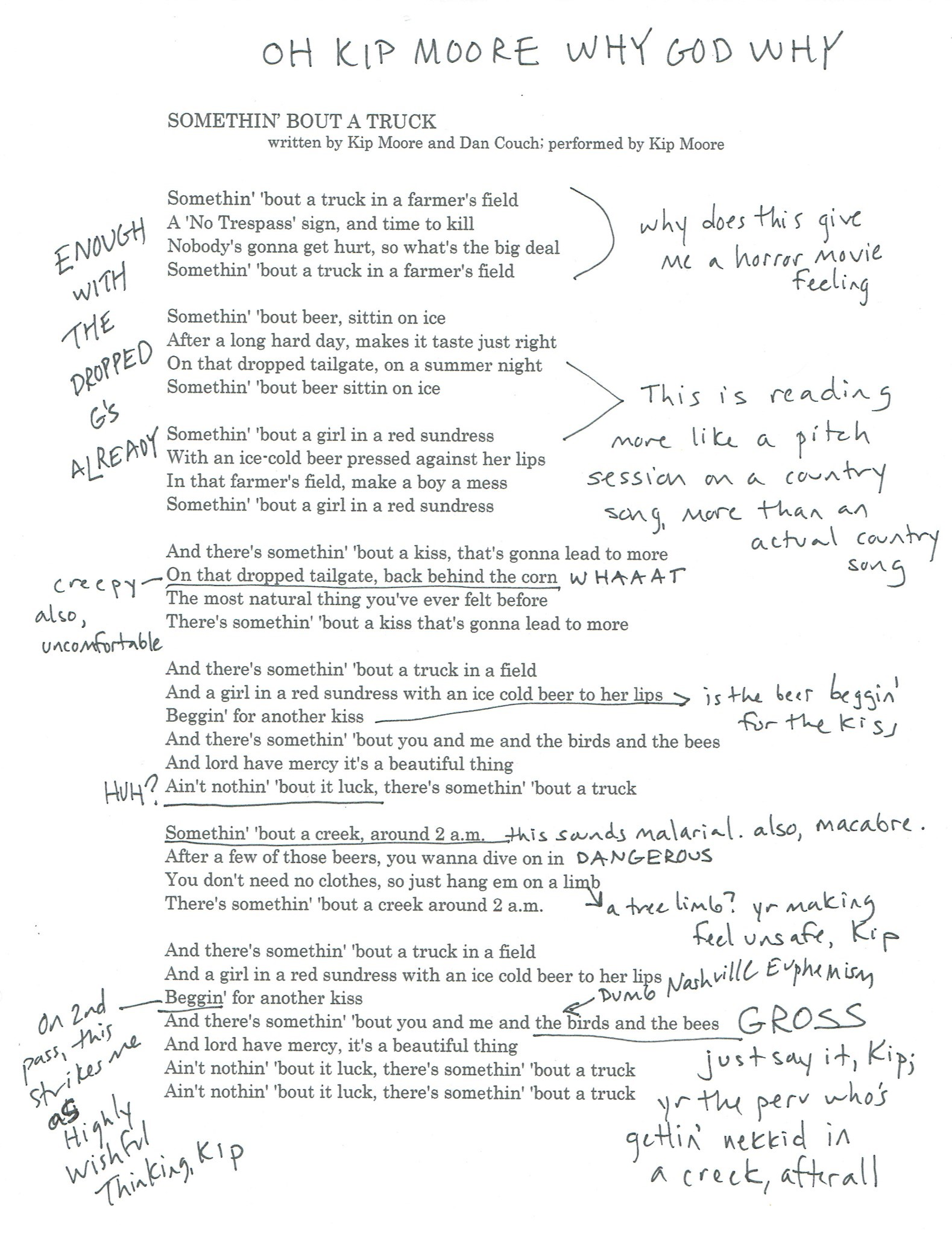 Anatomy of a Country Music Song, Part VI