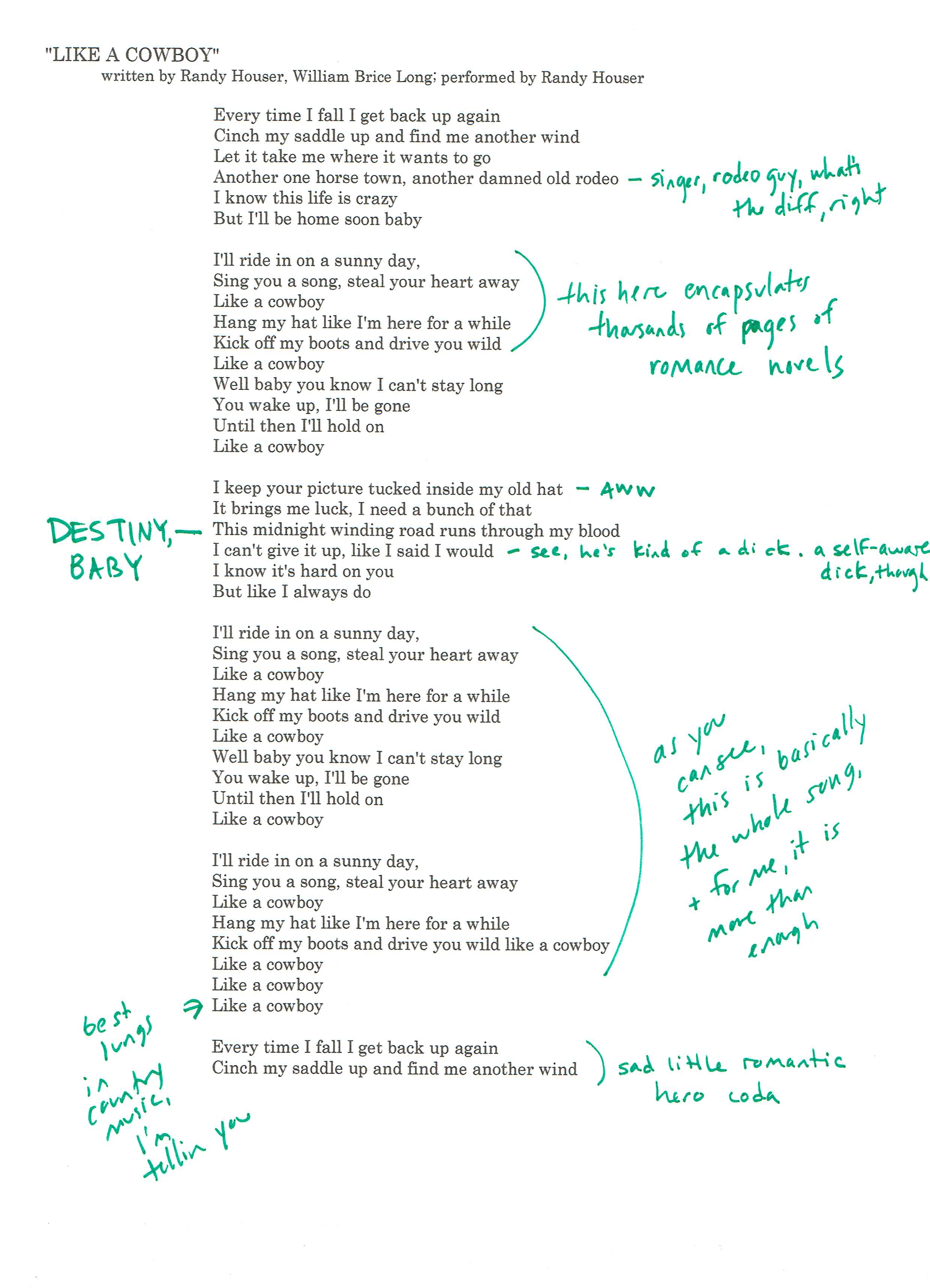 Anatomy of a Country Music Song, Part X